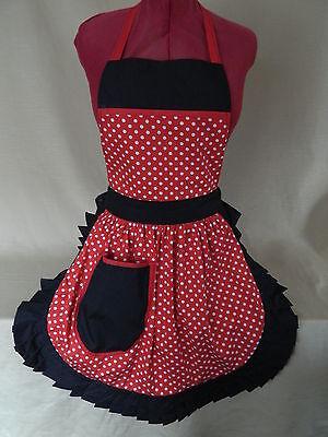 Black /& White Polka Dot with Pink Trim Retro Vintage 50s Style Full Apron  Pinny