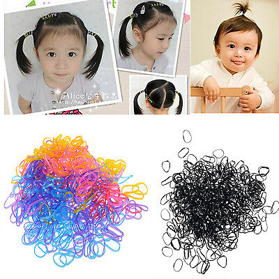 400PCS Rubber Hairband Rope Ponytail Holder Elastic Hair Band Ties Braids Plaits