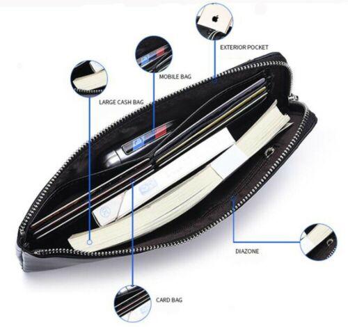 Men Business Wallet Long Card Holder Clutch Handbag Male Money Clip Phone Purse