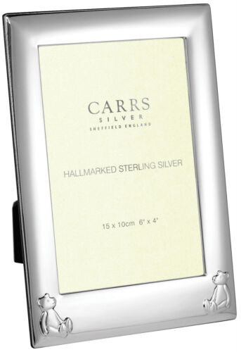 SOLID SILVER BABY FRAME BY CARRS BEARS CHRISTENING CHILDS GIFT ENGRAVABLE