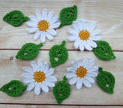 Daisy Crochet Flower Set of 12 Crochet Flower Applique Trim /& Embellishment Crochet Applique Flowers for Decoration Scrapbooking