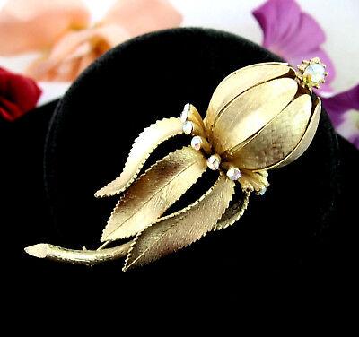Vintage Gold Long Stem Flower Brooch with Pink Aurora Borealis Rhinestones
