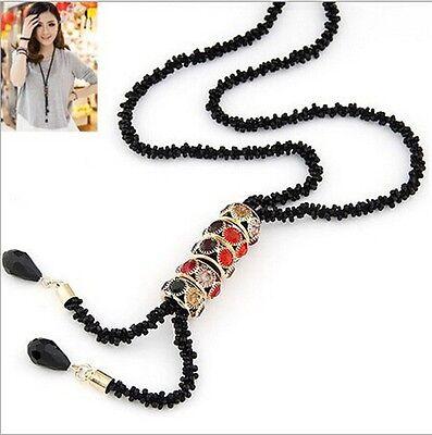 Fashion Jewelry Crystal Long Chain Pendant Women Bib Choker Statement Necklace