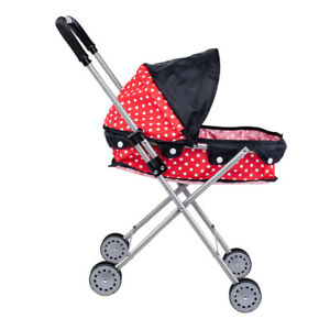 Lovely Dotted Baby Doll Stroller Trolley,Soft Plastic Handles /& Sturdy Frame