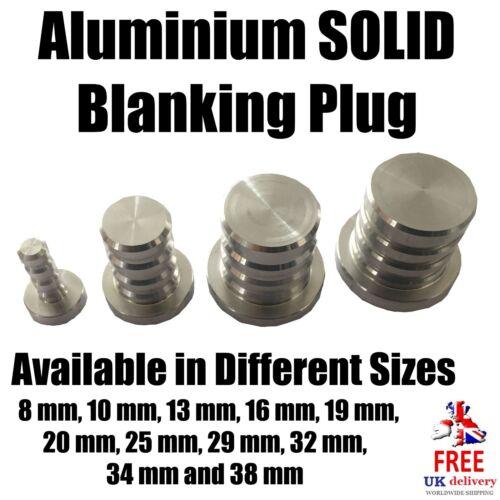 Aluminium solide d/'obturation plug tuyau dump//sports cnc valve. 8mm-38mm