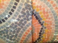 Cynthia Rowley Set Of 2 Std Pillow Shams Mosaic Circle Medallion Pink Blue Coral
