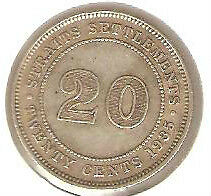 Offer>1935 Straits Settlements KGV 20cents coin very high grade.details! scare??