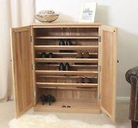 Nara Solid Oak Hallway Patio Furniture Large Shoe Storage Cupboard Rack Cabinet