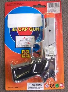 12 SILVER 45 MAG PLASTIC 8 SHOT CAP GUN PISTOL new play toy guns boys toys NEW