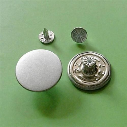 10 NO-SEW Large Metal Brass Snaps Tack Plain Jacket Jean Button 23mm Size XL G87