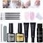 20ml Quick Poly Building Gel Nail Kit Slip Solution Brush File Set BaseTop Coat