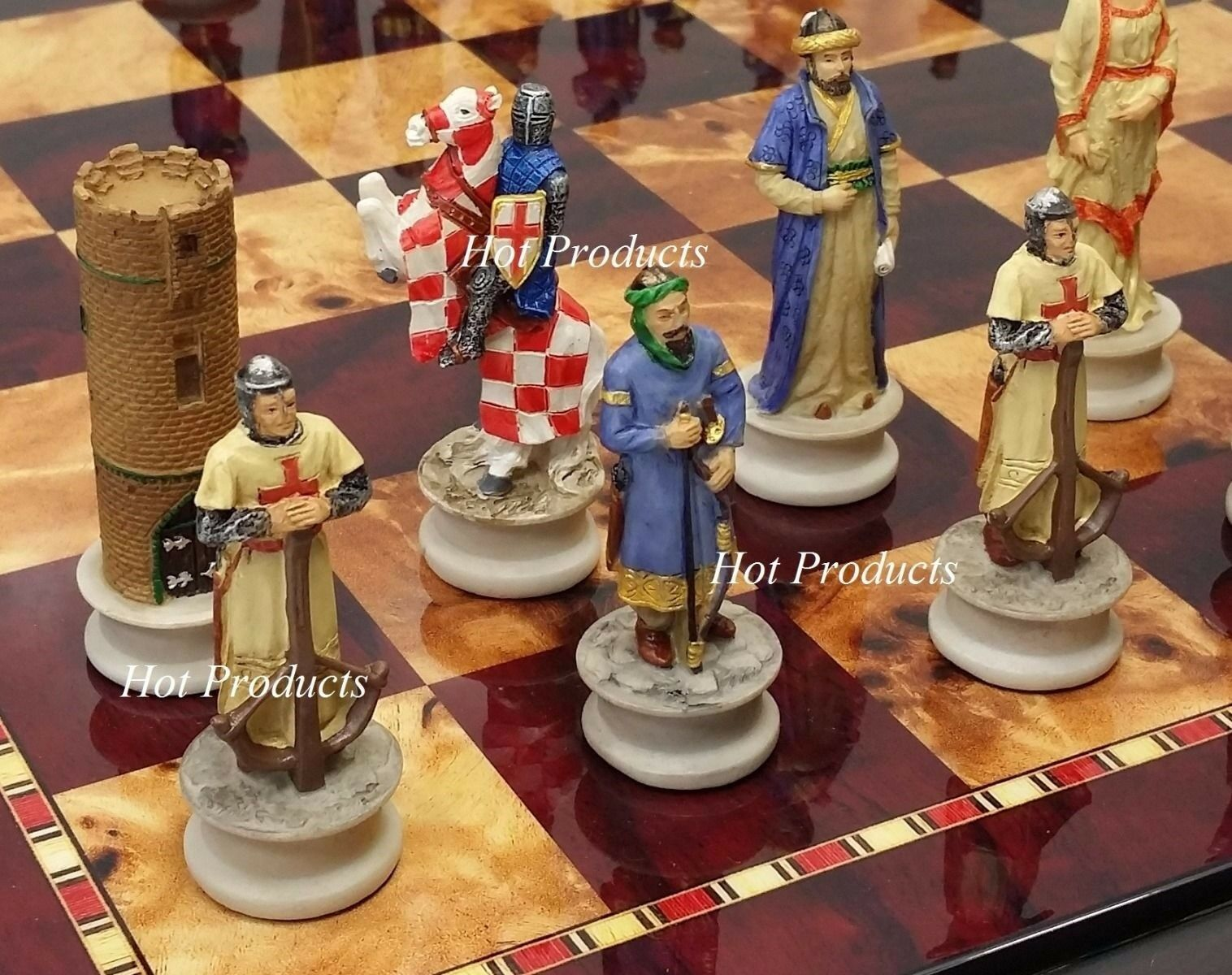 Medieval Times Times Times Crusade Arabian vs Christian Chess Set W  18  Cherry color Board 155c8a