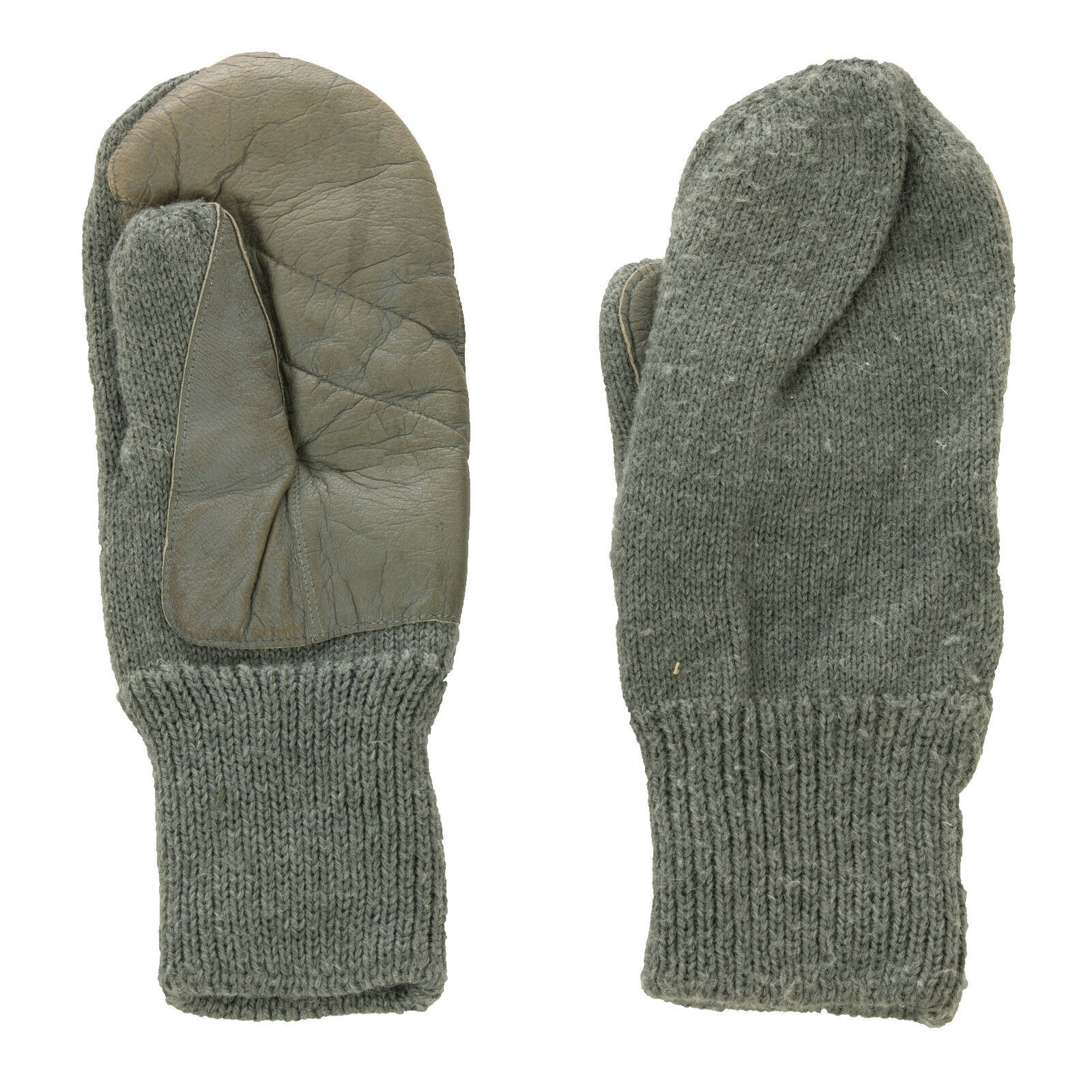 Swiss Army Winter Knitted Wool Mitts Grey Mittens with Leather Palm Area Grade 1