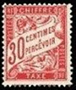 FRANCE-STAMP-TIMBRE-TAXE-N-33-034-TYPE-DUVAL-30c-ROUGE-CARMINE-034-NEUF-xx-TTB