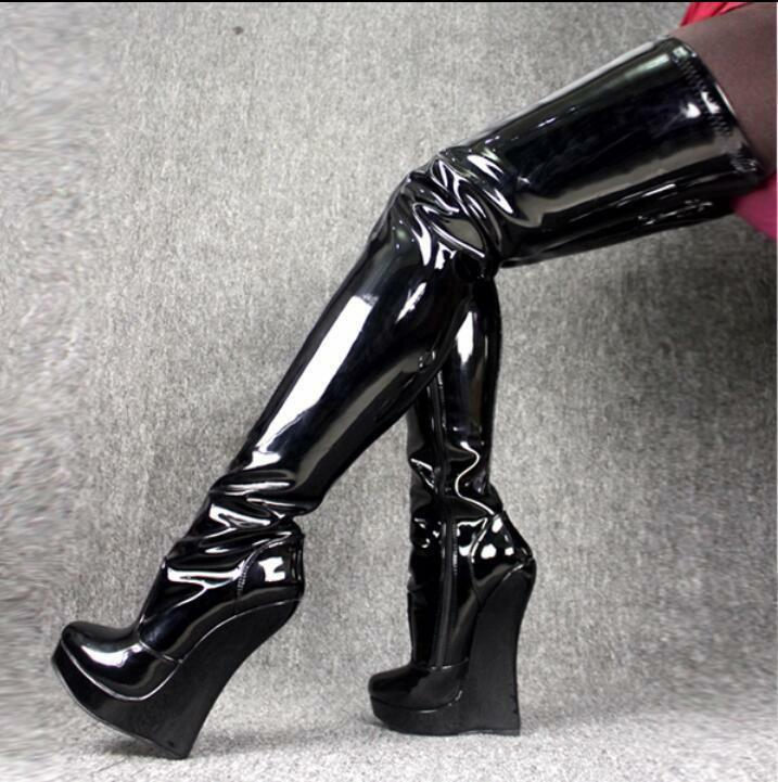 Sexy Women's High Heel Wedge Over Over Wedge Knee Boots Nightclub Platform Shoes Plus Size 72d9f8