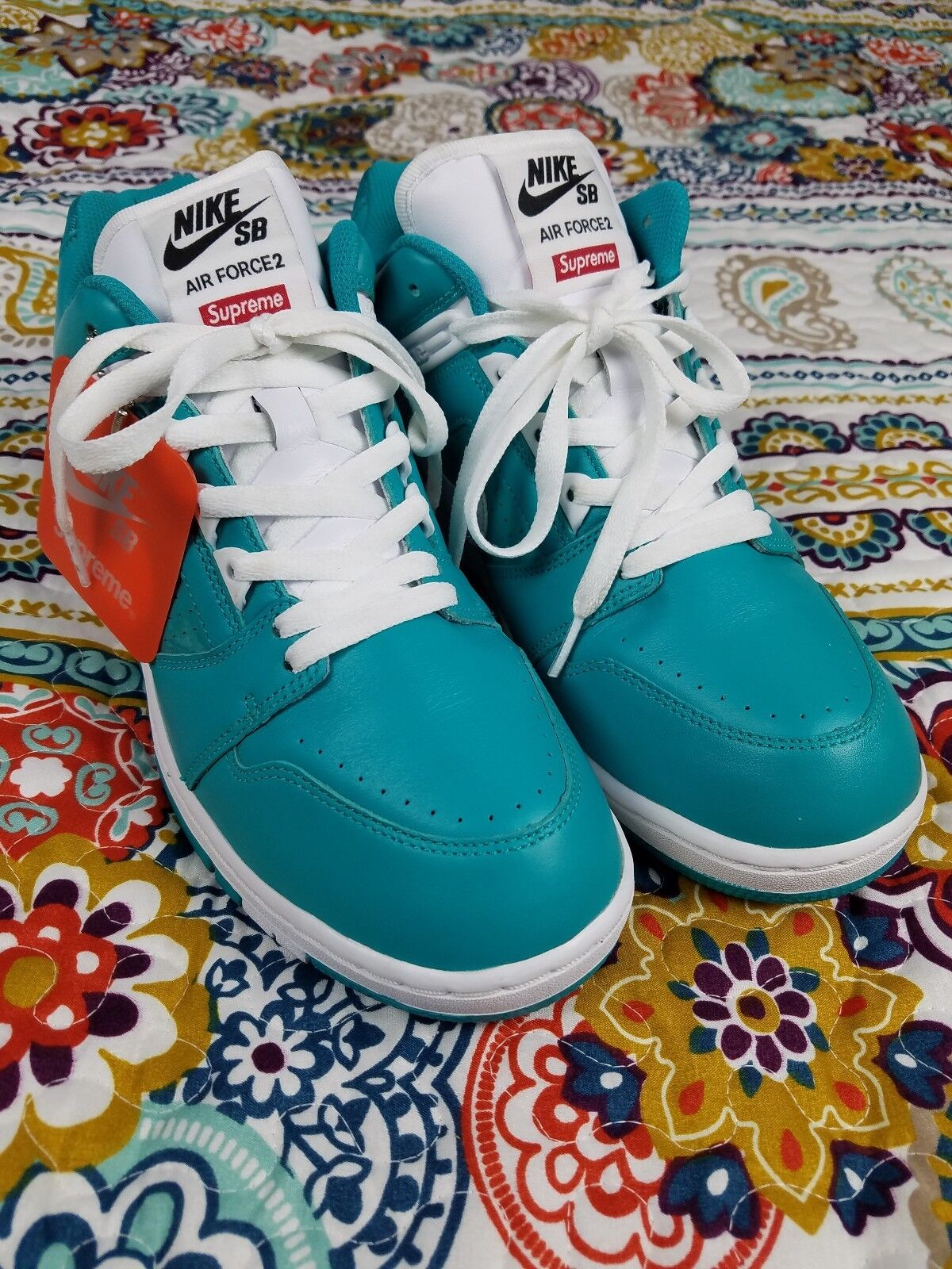 new concept 91663 44190 Nike Air Force 2 II x Supreme Teal Low Top Top Top Sneakers Mens 10.5 shoes