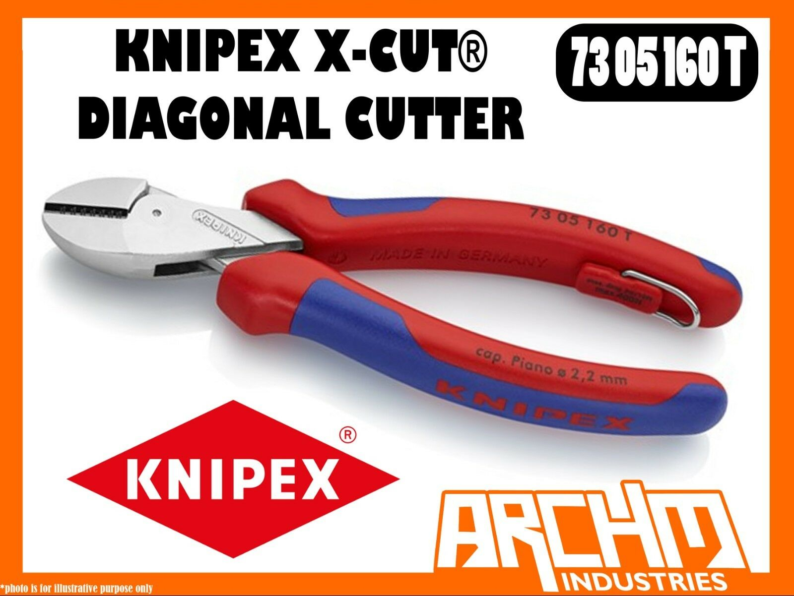 KNIPEX 7305160T - X-CUT ® DIAGONAL CUTTER TETHErot - 160MM - CABLES WIRES STEEL