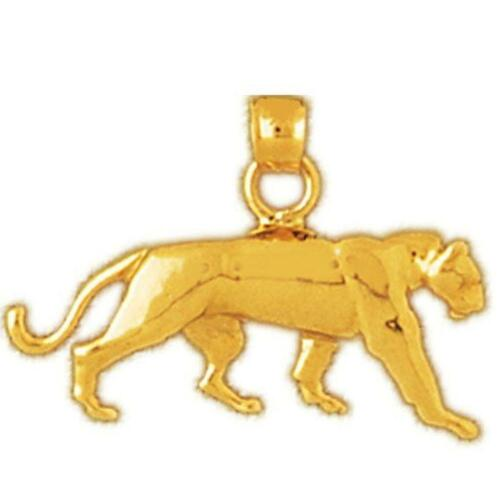 made in USA gros chat Pendentif//Charme 14k or Jaune Panther