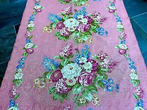 Purplest of PINK Shabby Chic Barkcloth Era Vintage Fabric Drape Curtain 1930's