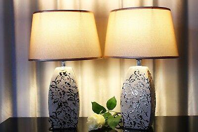 Lampen Liberal Lampe Gold Nachttischlampe Leuchte Keramik Tischlampe Tischleuchte Rosé 40cm ZuverläSsige Leistung