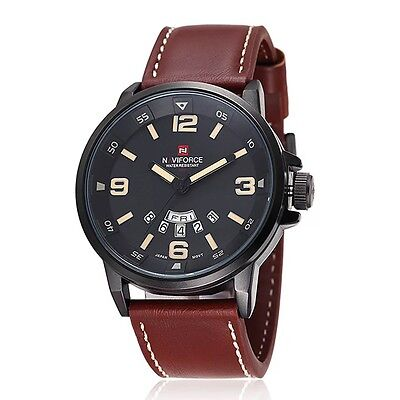 NAVIFORCE Sports Men Date Leather Stainless Steel Waterproof Quartz Wrist Watch
