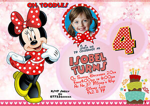Image Is Loading 8xPersonalised Birthday Party Invitation Disney Minnie Mouse