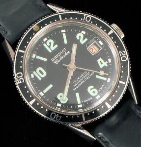 Vintage-annees-1960-Brichot-17J-Swiss-Scuba-Diver-Calendrier-Montre-bracelet-Running