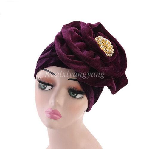 Women Velvet Crystal Turban Wrap hat Head Scarf African Chemo Cap Muslilm Hijab
