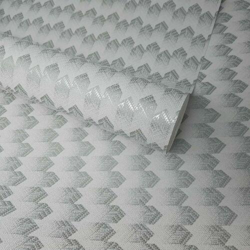 Fine Decor Paste The Wall Grey /& Metallic Silver Geometric Feature Wallpaper