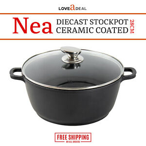 28cm-Nonstick-6-1L-Stockpot-Die-Cast-Aluminium-Casserole-Glass-Lid-Induction-Nea