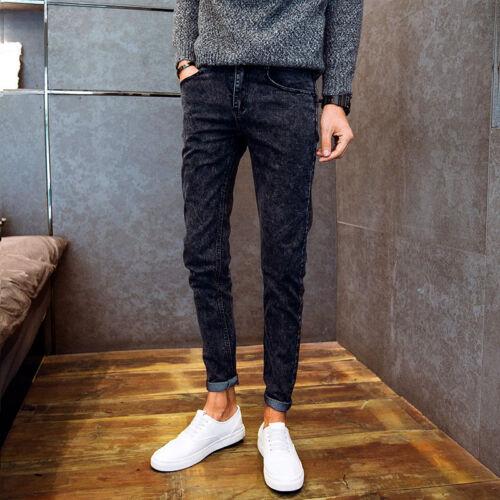 Men/'s Trousers Denim Jeans Black Slim Fit Skinny Fashion Long Pants Casual