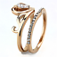 3518 PEAR WEDDING ENGAGEMENT RING SET SIMULATED DIAMONDS ROSE GOLD STEEL 2PCS