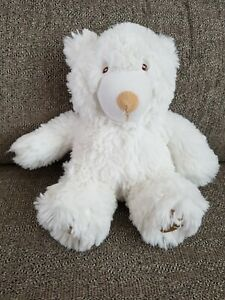 """Mothercare Fluffy White Teddy Bear Baby Soft Toy 7"""" Cuddly Comforter Paw Print"""