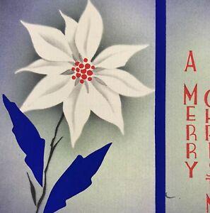Vintage-Mid-Century-Christmas-Greeting-Card-Art-Deco-Flower-Blue-Poinsettia