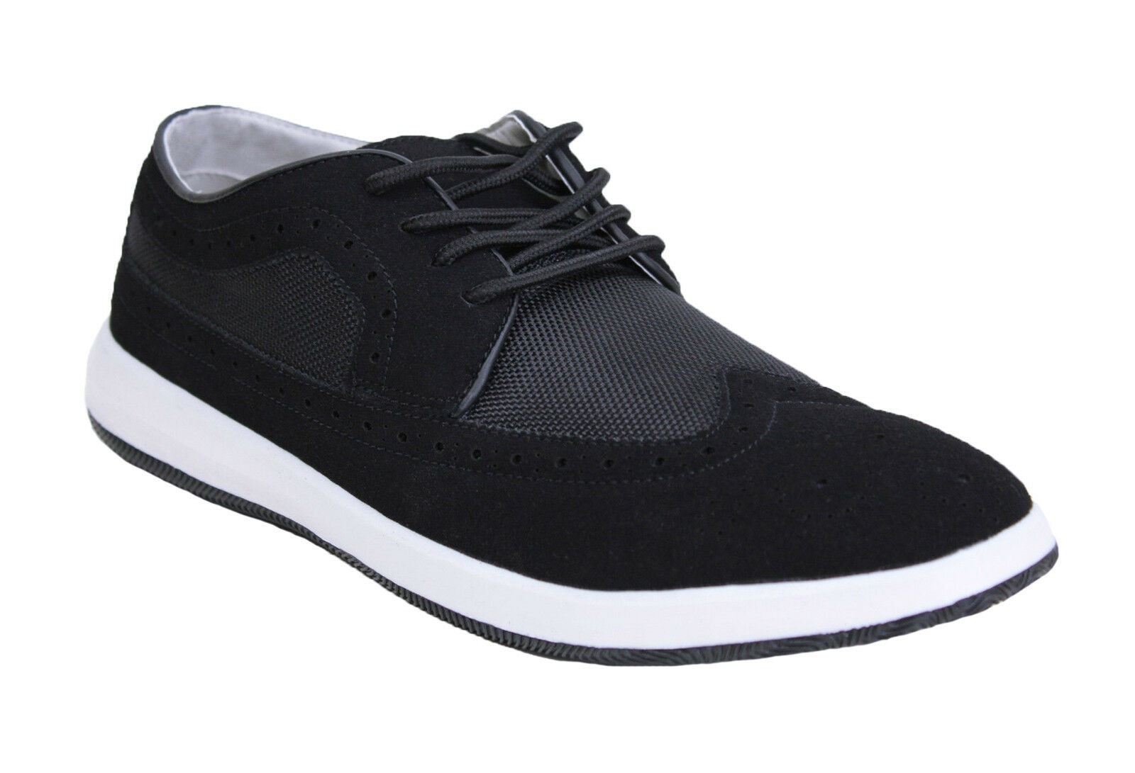 SHOES OXFORD MAN DIAMOND BLACK CASUAL ECO-LEATHER SUEDE NUOVE da 40 a 44