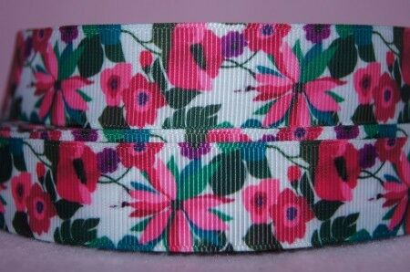 1571 Pinke Blumen 22mm Ripsband Borte Webband