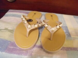 caf5e5ae7266ac Chatties Women s White with Beads Thong Flip Flop Sandals US Size 11 ...