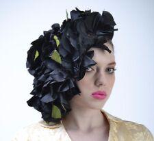 VTG 40's 50's Black Leaf PETAL Feather Cloche Church Fascinator HAT Races Derby
