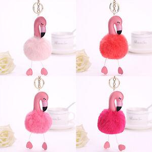 Flamingo-Keychain-Fluffy-Faux-Rabbit-Ball-Key-Chain-Women-Car-Bag-Key-Ring-H