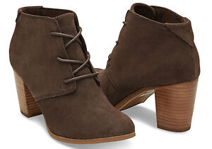 63908d797 TOMS Chocolate Brown Suede Women's Lunata Lace-up Booties. Style ...
