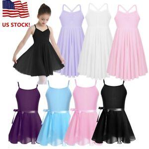 US-Kids-Girls-Ballet-Dance-Dress-Gymnastics-Leotard-Tutu-Skirt-Dancewear-Costume