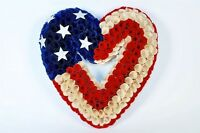 America Heart Shaped Wreath 13.5 Wood Florettes Beautiful 4th Of July