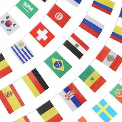 2018 World Cup Russia All 32 Teams 12M Bunting Flags Football Banner 20cmx15cm