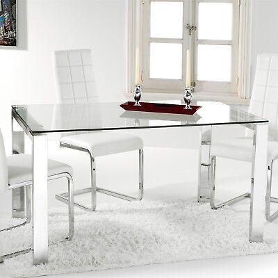Mesa comedor salon estructura metálica cromada cristal templado modelo Universal