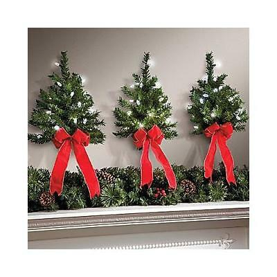 """16"""" Decorative Indoor/Outdoor Light up Wall Christmas Trees w/ Timer - Set of 3"""