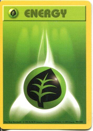 Pokemon Base Set Shadowless Common Card #99//102 Grass Energy