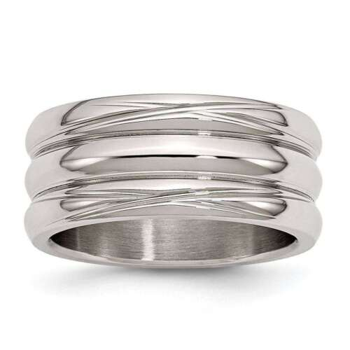 Chisel Stainless Steel 10mm Polished Grooved Wedding Engagement Band Size 6-13