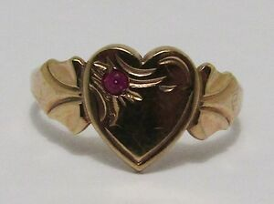 100-Genuine-Vintage-9k-Solid-Yellow-Gold-Ruby-Heart-Signet-Ring-Sz-2-5-US