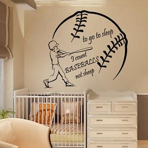 Details About Wall Decal Quote Vinyl Sticker Baseball Player Boys Room Nursery Decor Art Kk774