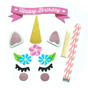 Glitter-Unicorn-Horn-Happy-Birthday-Cake-Topper-Banner-Decoration-Kids-Party-DIY